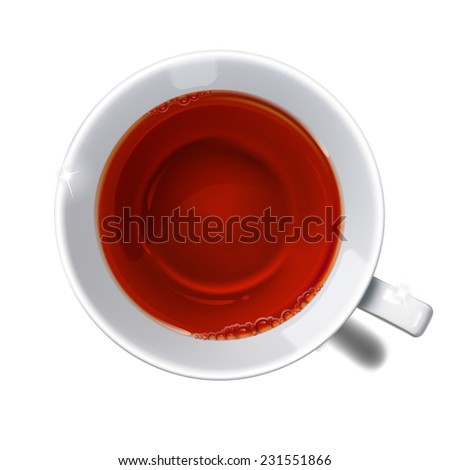 Top view on  cup with  tea on a white background. - stock photo