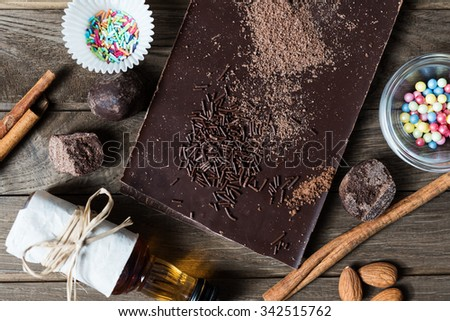 Top view on ingredients for chocolate dessert preparation - stock photo