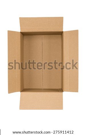 Top view on opened cardboard box - stock photo