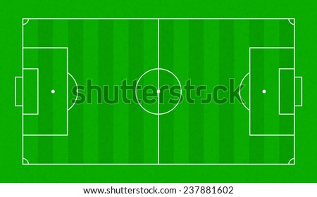 Top view on realistic textured green grass soccer or football field. Sports background for banner decoration