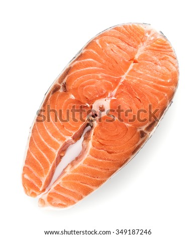 Top view on slice of raw salmon isolated on white