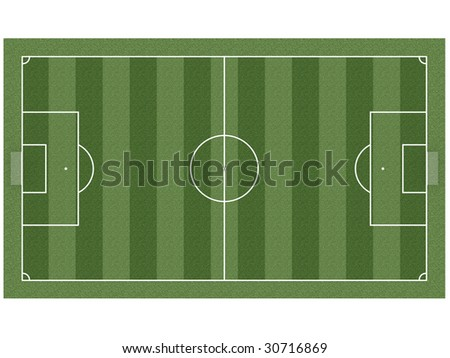 Top view on soccer field with gates, corner flags and soccer ball. High resolution 3D image - stock photo