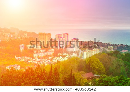 Top view on Sochi, Russia - stock photo