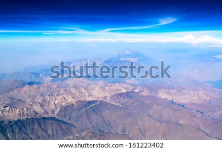 top view on the mountains of Afghanistan  - stock photo