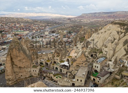 Top view on the town Goreme in Cappadocia, Turkey - stock photo
