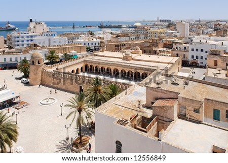 Top view onto Medina of Sousse, Tunisia - stock photo