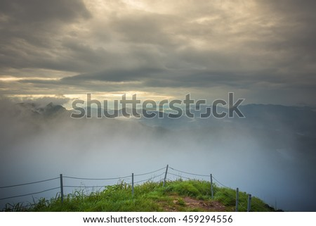 top view point on Phu chi fa in Chiangrai,Thailand