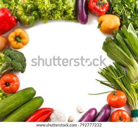 top view portrait fo square frame made from fresh vegetables isolated on white background