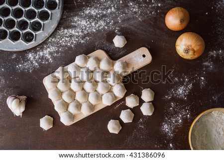 Top view ready tasty raviolis or dumplings filled with minced meat on flour on wooden board - stock photo