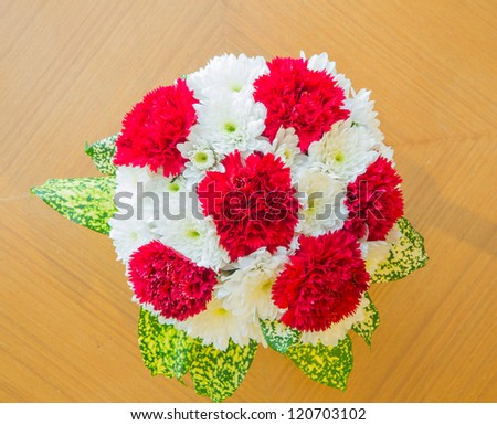 top view red Carnation bouquet using in wedding or any greeting ceremony - stock photo