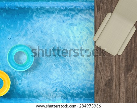 top view relaxation by poolside - stock photo