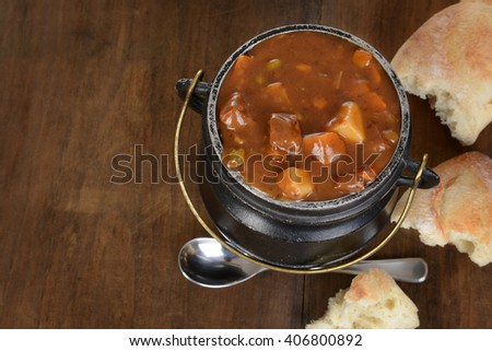 top view rustic beef stew - stock photo