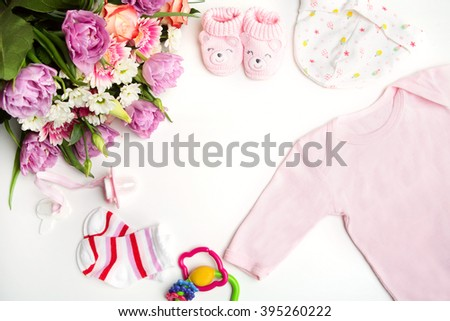 top view set of fashion trendy pink stuff for baby girl, baby fashion concept  - stock photo
