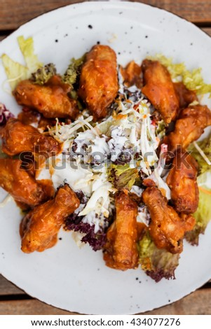 Top view. Spicy Homemade Buffalo Wings  - stock photo