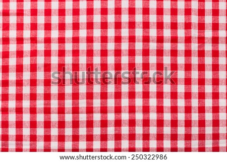 Top view tablecloth red tartan in cage texture wallpaper horizontal. Unique perspectives.