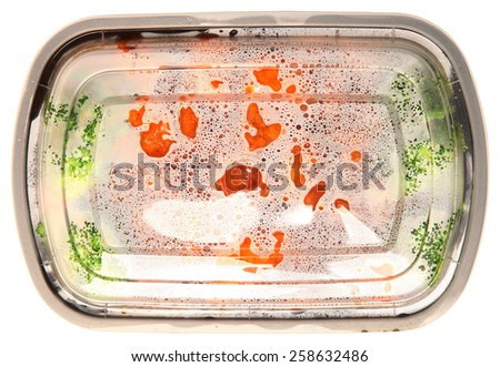 Top View Take Out Chinese Food, General Tso Chicken and Brocolli Over White - stock photo