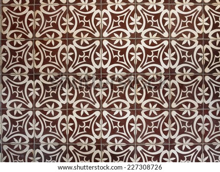 Top view tiled floor with brown Mediterranean decorations - stock photo