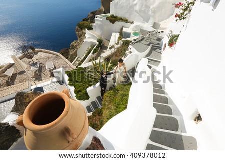 top view to the sea in Santorini - stock photo