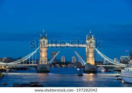 Top view, Tower Bridge at night twilight London, England, UK  - stock photo
