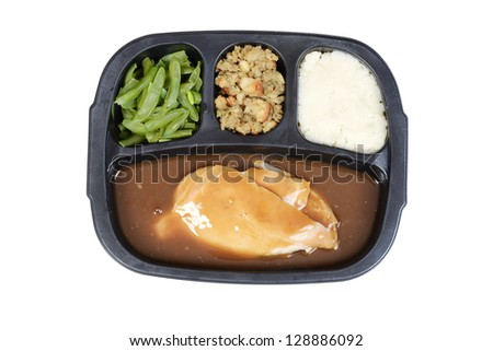 top view turkey tv dinner - stock photo
