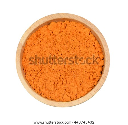 Top view turmeric powder in wood bowl on white background