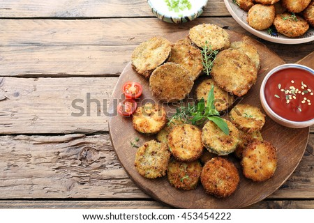 top view vegetarian food mixed fried vegetables on rustic background - stock photo