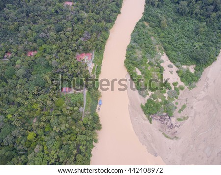 Top view Water pollution caused by mud from logging activities in Pahang River, Malaysia