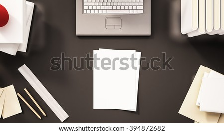 Top view working table, laptop, books, stationery, paperwork and etc., 3d rendered - stock photo