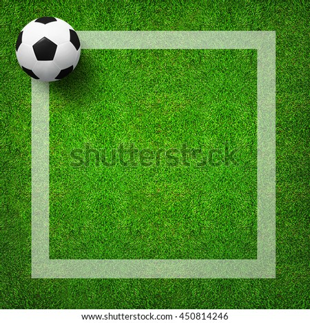 Top views of soccer ball with frame line on green grass pattern background and texture. Soccer ball 3D illustration. - stock photo