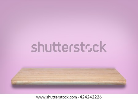 top wooden shelf on pink background. For product display
