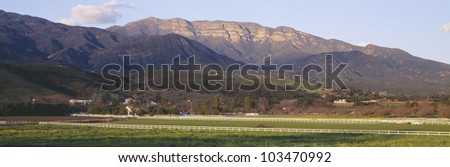 Topa Topa Bluffs overlooking ranches in Upper Ojai Valley, California - stock photo