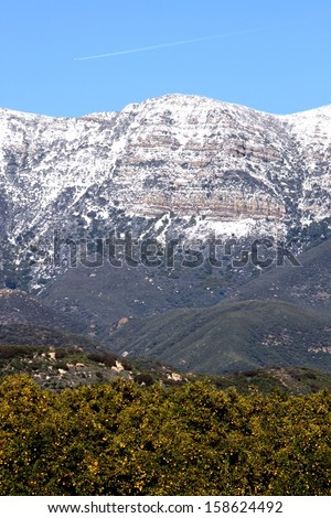Topa Topa mountains with snow near Ojai, California - stock photo