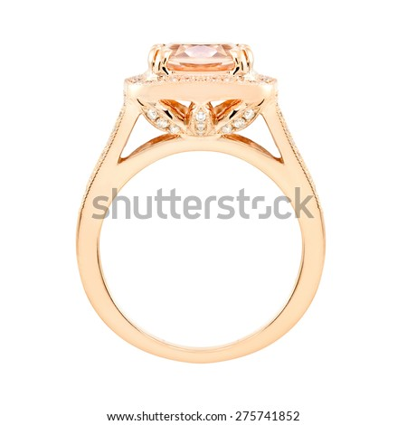 Topaz and diamond pink gold ring. isolate on white - stock photo