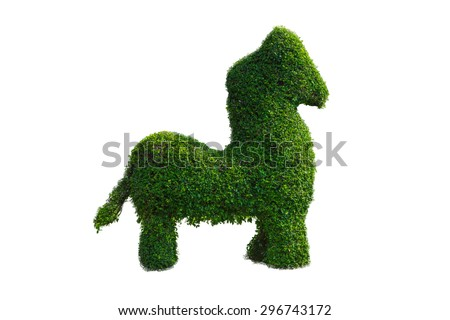 Topiary Designs and Creative Garden Art on a white background. horse - stock photo