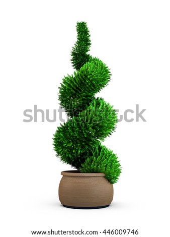 Topiary trees in the pot isolated on white background. 3D Rendering, Illustration.