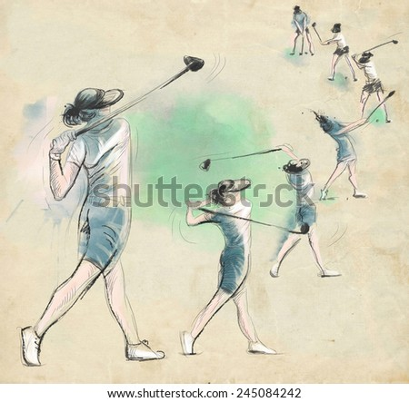 Topic: GOLF (Complex motion). An hand drawn and painted full sized illustration (Original). - stock photo