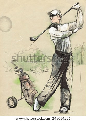 Topic: GOLF (Finishing position). An hand drawn and painted full sized illustration (Original). - stock photo