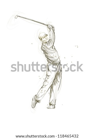 "Topic: Golf (Golfers). Full-sized (original) hand drawing (useful for ""live trace"" converting for the vector image - and others). Technique: digital tablet. Number of colors: hundreds. - stock photo"