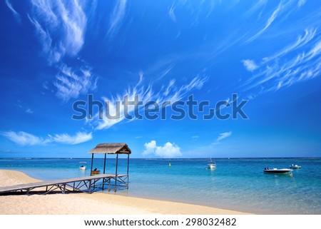 Topical beach in Mauritius Island - stock photo