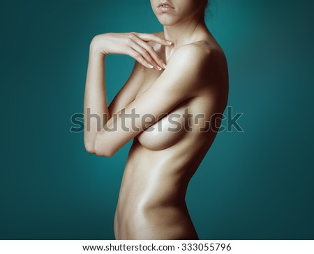 Topless beauty woman body covering her big breast  - stock photo