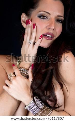 Topless Caucasian Woman wearing Jewelry - stock photo