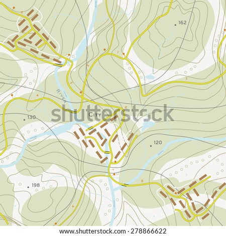 Topographic map of territory with rivers, forests and roads - stock photo