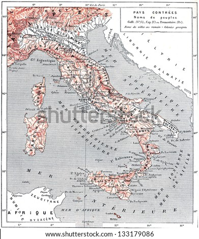 Topographical Map of Ancient Italy, vintage engraved illustration. Dictionary of Words and Things - Larive and Fleury - 1895 - stock photo