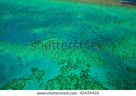 Topography of Arlington Reef Aerial View in Great Barrier Reef Marine Park - stock photo