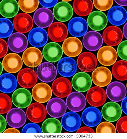 tops of colored highlighter pens - stock photo