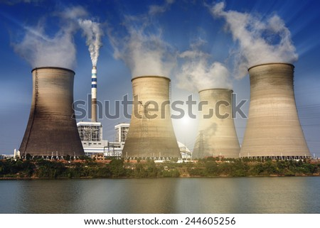 tops of cooling towers of atomic power plant - stock photo