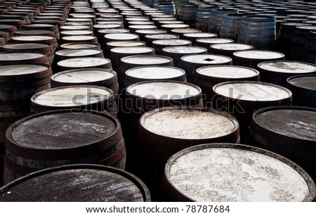 Tops of scotch whiskey barrels
