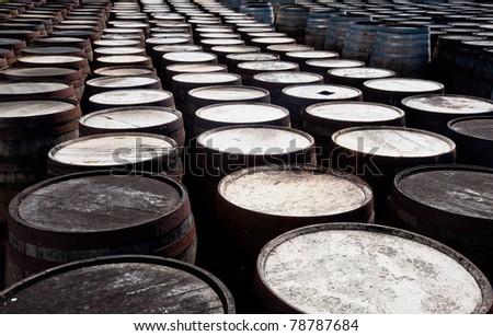 Tops of scotch whiskey barrels - stock photo