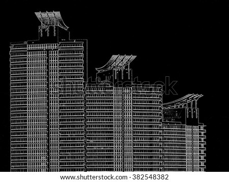 Tops of tall buildings - Negative drawing, digital art work