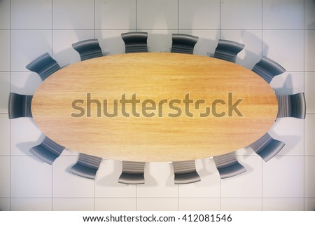 Topview of empty wooden conference table. Mock up, 3D Rendering